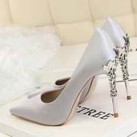 Wholesale new designs ladies wedding shoes for sale - New high end design fashion exquisite sweet high heels side hollow pointed ladies high heels single wedding shoes fast delivery