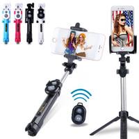 selfie stick bluetooth construido al por mayor-Palillo autofoto antideslizante para control de selfie con trípode Portátil Monopie extensible - Construido en el obturador Bluetooth Nueva oferta