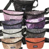 Wholesale shiny tote bag for sale - Glitter Pink letter Waist Bag Women Kids Fanny Packs Shiny Bling Shoulder Bags Designer Handbag Belt Tote Travel Beach Cosmetic Shopping Bag