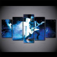 kunstmalerei gitarre großhandel-Moderne Kunst Hauptwanddekor Dekorative 5 Panel Metallica Band Gitarre Bilder HD Druck Auf Leinwand Für Wohnzimmer