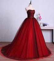 vestido vintage longo toptan satış-Kırmızı ve Siyah Uzun Gelinlik Modelleri Mezuniyet için Tül Balo Dantel Örgün Abiye giyim elbise vestido de dresses longo