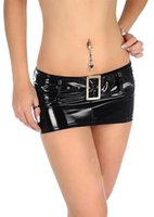 Wholesale Low Hip Skirts - Women's Sexy PVC Summer Hot Low Waist Package Hip Mini Skirt