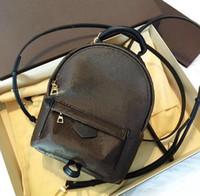 Wholesale backpack girls handbag resale online - Genuine leather fashion back pack shoulder bag handbag presbyopic palm spring mini backpack messenger bag mobile phone purse