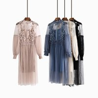 Wholesale Korean Two Piece Dresses - Spring Korean Vintage Collar Pink Dress Women Japanese Flower Embroidery Fairy Dress Sexy Hollow Two Piece Set Party Vestdios