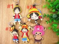 anime colgante de una pieza al por mayor-5 estilo animado de la serie One Piece Luffy Chopper a doble cara llave clave de cadena de la etiqueta colgante colgante colgante de 001 V