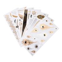 metallic tattoo jewelry venda por atacado-1 folha Corpo Art Ouro Metálico Etiqueta Do Tatuagem Pulseira Cadeia À Prova D 'Água Falso Jóias Tatuagem Temporária