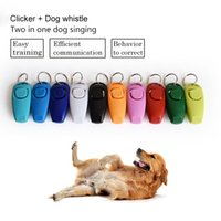 Wholesale dog whistle clicker resale online - Hot Sale Combo Pet Dog Training Whistle Clicker Trainer Aid Guide With Key Ring Dog Supplies