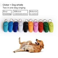 ingrosso portachiavi del fischio-Vendita calda Combo Pet Dog Training Fischio Clicker Trainer Aiuto Guida con portachiavi Forniture per cani