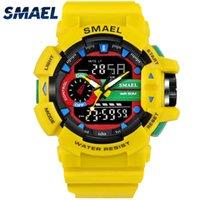 часы двойные цифровые часы оптовых-SMAEL желтый спортивные часы двойное время светодиодные цифровые часы Кварцевые аналоговые-Digital1436 мужские наручные часы военные часы цифровые