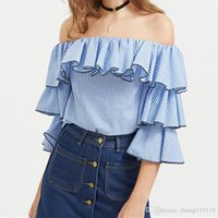 Wholesale Striped Shirt Womens - 2018 Summer Womens Sexy Off Shoulder Butterfly Sleeve Stripe Ruffled Flouncing Shirt Blouse Tops