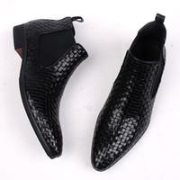 estilo italiano botas homens venda por atacado-Estilo italiano Tecer Homem Trançado Botas de Couro Genuíno De Alta top Terno Formal Vestido Oxfords Botinhas Curtas