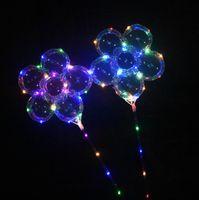 luces de palo al aire libre al por mayor-LED globo de ciruelo en flor de 18 pulgadas parpadeante Bobo Ball Light Up globos con mango Stick Party Decoration juegos al aire libre OOA5440