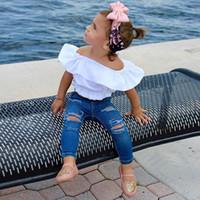 weiße baumwollbaby-sommeranzüge großhandel-Sommer Mode Mädchen Kleidung Sets Baby Mädchen Kleidung Baumwolle Weiß Mädchen Crop Top Shirt Bluse + Jeans Zweiteilige Mädchen Anzug Kinder Kleidung