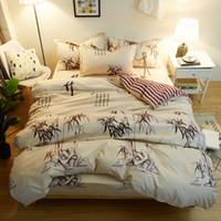 desenhos animados da embalagem venda por atacado-Pintura chinesa de Bambu gêmeo completo rainha rei conjuntos de cama fracos amarelo capa de edredão colcha capa folha de cama fronhas