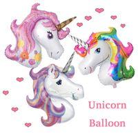 Wholesale balloon decor supplies - 1Pcs Birthday Party Decorations kids Foil Balloons Pink Unicorn Balloon Party Supplies Wedding Baby Shower Decor Rainbow 2018 New