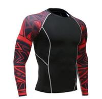 ingrosso t-shirt uomo termico-T-shirt maniche lunghe da uomo Fitness Rashguard T Shirt da uomo aderenti a compressione termica T-Shirt da allenamento termica MMA Crossfit