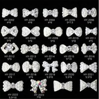 Wholesale 3d Nail Stickers Metal - Nail Stickers Nail Art 3D Alloy Metal Crystal Decoration Diamond Cellphone Rhinestone Glitter Charms Jewelry Crown Bow Christmas