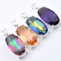 Wholesale morganite pendants - Mix Color 4PCS Lot Classic Blue Mystic Topaz Amethyst Morganite Gemstone 925 Silver Pendants for Necklace Party Holiday Gifts