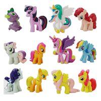 pvc 12 pcs al por mayor-12 pcs / set 3-5 cm linda muñeca del PVC ponis figuras de acción de juguete caballo de juguete Tierra Unicorn Pegasus Alicorn Bat potros figura muñecas para chicas