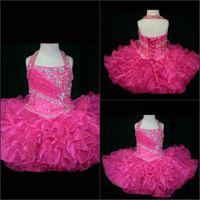 Wholesale hot toddler pageant dresses resale online - Custom Made Halter Little Rosie Cupcake Girl s Pageant Dresses Lovely Little Rosie Hot Pink Glitz Toddler Party Dresses