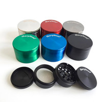 Wholesale cnc ship - 40mm 50mm 55mm 63mm 4 parts SharpStone Tobacco Grinder herb grinder cnc teeth filter net dry herb vaporizer pen free shipping