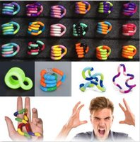 Wholesale finger wounds - Fidget Fiddle Adult Anti Stress Hand Sensory EDC Decompression twisted winding toys Finger Dexterity Training Toy Twisted Ring KKA5011