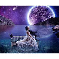 Wholesale moon painted wall - Moon sea beauty 5D DIY Mosaic Needlework Diamond Painting Embroidery Cross Stitch Craft Kit Wall Home Hanging Decor