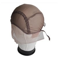 Wholesale lace weaving cap - 2pcs Lot Front Lace Wig Cap For Making Wigs With Adjustable Strap Glueless Weaving Caps Size M Tool