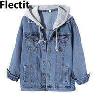 пальто с завязками оптовых-Flectit Harajuku улица Stylel женщин с капюшоном длинный джинсовая куртка с серым шнурок капот большой размер толстовка джинсовая куртка женское пальто