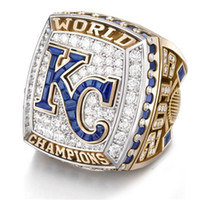 Wholesale Kc Gold Plating - Gold and silver tone 2015 KC Royals world series championship ring baseball champions rings for men