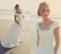 Wholesale Taffeta Wedding Dresses Pockets - Beach Wedding Dresses with Pockets and Short Sleeves Scoop Beading White Taffeta Cheap Wedding Bridal Gowns Custom Made