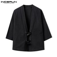 schwarzer knopf windjacke großhandel-Japan Kimono Herren Mäntel Jacken Herbst schwarze Strickjacke Chinesisch Open Stitch Button Langarm INCERUN Kleidung Windbreaker