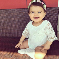 Wholesale Cm Photo - 2018 Newborn Baby Lace Romper Baby Girl Cute Speaker sleeve Rompers Jumpsuits Infant Toddler Photo Clothing Soft Lace Bodysuits 0-3M