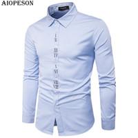 Wholesale Digital Print Dresses - AIOPESON Brand New Fashion Mens Shirt Solid Digital Print Long Sleeve Male Dress Shirts Smart Casual Lapel Business Shirt Men