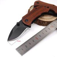 Wholesale knife clip mini pocket resale online - DA33 Mini Pocket Folding Knife C HRC Wood Handle Titanium Tactical Camping Hunting Survival Knife With Clip Gift EDC