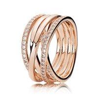 openwork schmuck großhandel-ganze sale925 Sterling Silber Ring Rose Gold Openwork Ewigkeit entwirrte Kristall Ringe für Frauen Hochzeit Geschenk feine Europa Schmuck