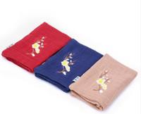 kit de ruban de couleur achat en gros de-Serviette en coton et lin à absorption d'eau forte absorption d'eau de style chinois Service à thé de broderie créative à motif de fleurs