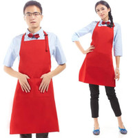 Wholesale Cooking Clothing - Plain Apron with Front Pocket Bib for Chefs Butchers Kitchen Cooking Craft Baking Home Cleaning Tool Adult Teenage College Clothing
