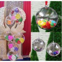 ingrosso scatole di regalo di natale-Christmas Tress Decorations Ball 6cm Trasparente Open Plastic Clear Bauble Ornament Regalo Presente Decorazione Box EJ879324