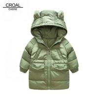 Wholesale long bear parka - CROAL CHERIE 80-130cm Long Style Down Jacket For Girl Kids Winter Jackets And Coat For Boys Cute Bear Ear Children's Parkas