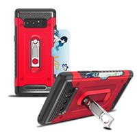 ingrosso caso silicone tasca galassia-Custodia ibrida per Heavy Duty Armor per Samsung Galaxy Note 8 Nota 5 Custodia per Galaxy A6 2018 A6 plus 2018 Kickstand con Pocket Card