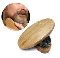 boar brush hair bristles toptan satış-Yeni Varış Erkek Domuzu Saç Kıl Sert Yuvarlak Ahşap Saplı Sakal Bıyık Fırça Seti maquiagem Ücretsiz Kargo
