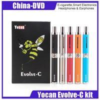 ego e zigaretten-dual-kit großhandel-Yocan Evolve C Wachs Verdampfer Starter Kit 650mah eGo Gewinde Quarz Dual Coils Wachsstift Silber Schwarz Rot E-Zigarette Kits 100% Authentic