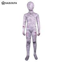terno cinza trajes venda por atacado-Crianças Halloween Trajes Múmia Cinza Crianças Lycra Spandex Zentai Criança Terno Completo Body Mummy Bodysuit Múmia de Alta Qualidade