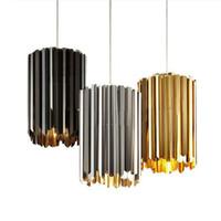 siyah çelik lamba toptan satış-İtalya Modern Tasarımcı Kolye Işık Altın Krom Siyah Paslanmaz Çelik Sarkıt Bar Restoran Yatak Odası Alaşım Asılı Lamba
