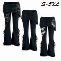 Wholesale Lace Up Gothic Pants - Women 2 In 1 Boot Cut Leggings Pants with Micro Slant Skirt Gothic Punk Lace Up Bell Bottom Leggings Sports Yoga Pants