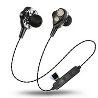 dual-treiber-kopfhörer groihandel-Drahtlose Bluetooth-Kopfhörer Dual Dynamic Treiber Kopfhörer Sport Kopfhörer HIFI-Monitor Stereo Bass Earbuds Mic
