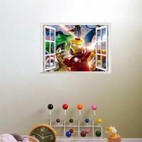 adesivos de arte de janela venda por atacado-3D À Prova de Água Arte Adesivos de Parede Removível Falso Janela Padrão Quarto das Crianças Papel De Parede de Fundo Home Decor Dos Desenhos Animados Adesivos 7 jj