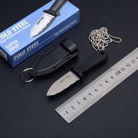 überleben keychain werkzeug großhandel-Kleiner kalter Stahl-Superrand-Minidolch reparierte Blatt-Messer 42SS 43LS Kampierendes Jagd-Überlebens-Taschen-Hals-Messer Keychain EDC Werkzeuge