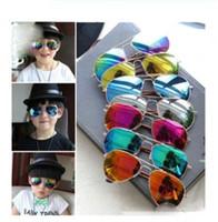 gafas para niños estilo al por mayor-Niños de moda Niños Niños Gafas de sol Aviador Estilo Marca Diseño Niños Gafas de sol Protección UV gafas de sol 15 colores